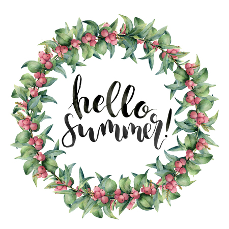 Watercolor hello summer card. Hand painted pink berry and eucalyptus leaves on white background. Botanical illustration for design, print, fabric or background.