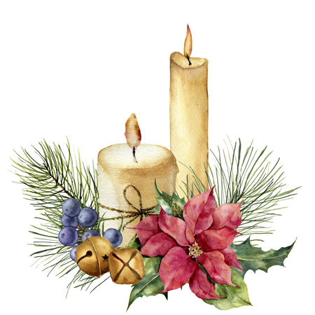 Watercolor Christmas candles with holiday decor. Hand painted floral composition with leaves, poinsettia, bells, juniper berries isolated on white background. Botanical illustration for design. Stockfoto