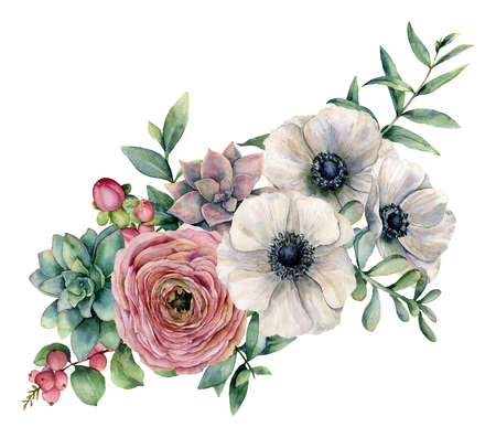 Watercolor bouquet with succulent, ranunculus and anemone. Hand painted flowers, eucaliptus leaves and succulent branch isolated on white background. Ilustration for design, print or background. Stock Photo