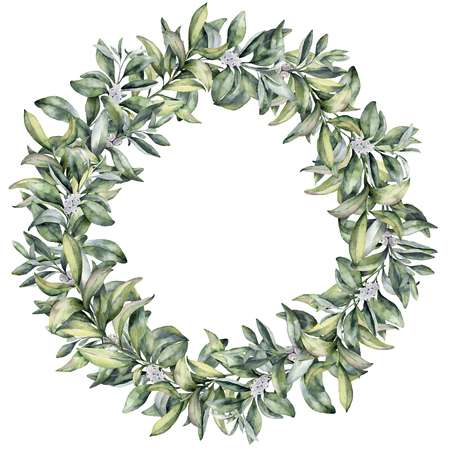 Watercolor winter floral wreath. Hand painted snowberry branch with white berry isolated on white background. Christmas botanical frame for design or print. Holiday plant. Stock Photo