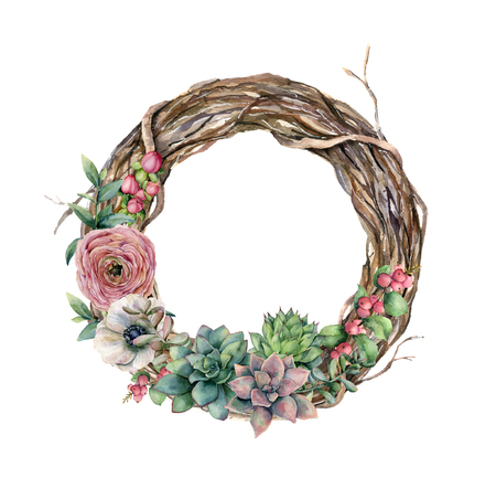 Watercolor tree wreath with cactus and ranunculus. Hand painted hypericum, anemone, succulent, red berry and eucalyptus leaves on white background. Illustration for design, fabric or background.