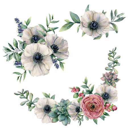 Watercolor white anemone, succulent and ranunculus bouquet set. Hand painted flower, eucalyptus leaves and berries isolated on white background. Illustration for design, fabric, print or background.
