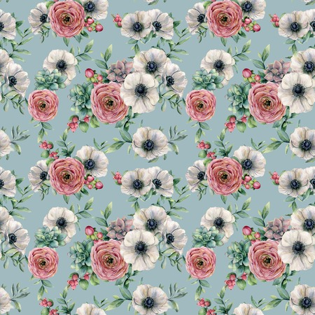 Watercolor succulent, ranunculus, anemone seamless pattern. Hand painted flowers, eucaliptus leaves, berries and succulent isolated on blue background. Ilustration for design, print, background.