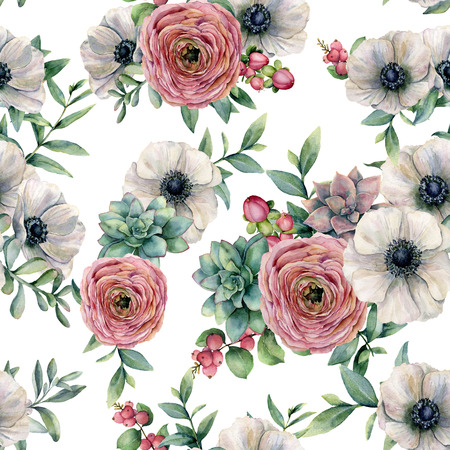 Watercolor seamless pattern with succulent, ranunculus, anemone. Hand painted flowers, eucaliptus leaves and succulent branch isolated on white background. Ilustration for design, print or background. Stock Photo