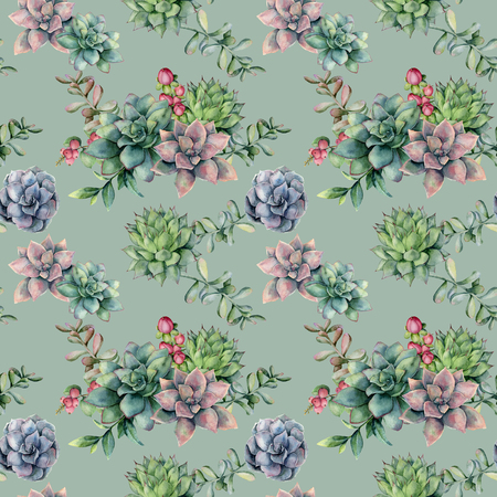 Watercolor seamless pattern with red berries and succulent bouquet. Hand painted flowers, branch and hypericum isolated on blue background. Floral illustration for design, fabric, or background.