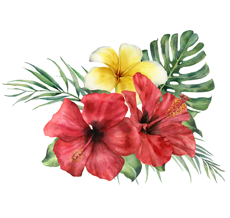 Watercolor floral tropical bouquet with hibiscus and plumeria. Hand painted monstera, palm branch and frangipani isolated on white background. Botanical illustration for design, print or background.