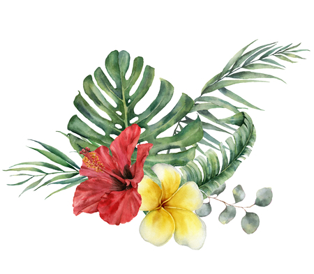 Watercolor floral tropical bouquet with hibiscus, plumeria and eucalyptus. Hand painted monstera, palm branch, frangipani isolated on white background. Illustration for design, print or background.