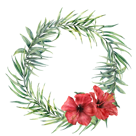 Watercolor wreath with coconut, eucalyptus palm branch and hibiscus. Hand painted floral illustration with palm leaves and flowers isolated on white background. For design, print, fabric, background. Imagens