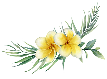 Watercolor floral tropical bouquet with plumeria and palm branch. Hand painted frangipani, eucalyptus isolated on white background. Illustration for design, print, fabric or background. Banco de Imagens
