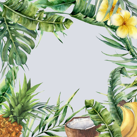 Watercolor tropical frame with exotic branch. Hand painted floral illustration with banana and coconut palm leaves, plumeria, pineapple isolated on blue background for design, fabric or print. Фото со стока