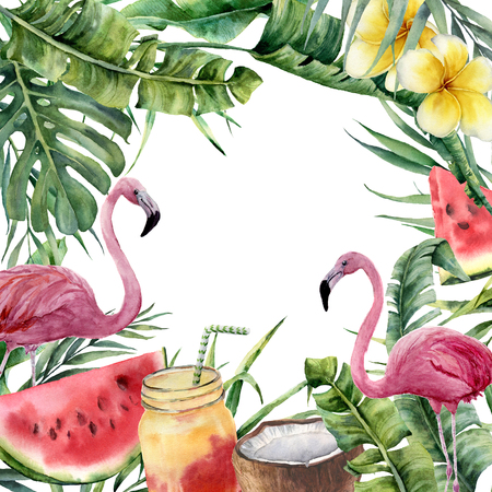 Watercolor tropical frame with palm branch and pink flamingo. Hand painted floral illustration with cocktail, watermelon, coconut and plumeria isolated on white background for design, fabric or print.
