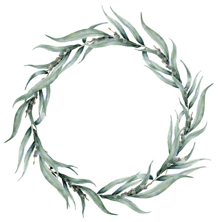 Watercolor floral wreath with eucalyptus leaves. Hand painted floral wreath with branches, leaves of eucalyptus isolated on white background. Floral illustration for design, print or background.