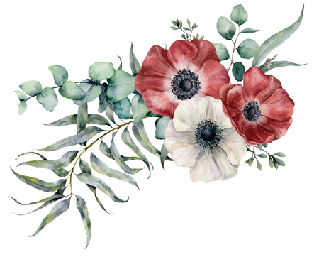 Watercolor anemone bouquet. Hand painted red and white flowers, eucalyptus leaves isolated on white background. Illustration for design, fabric, print or background.