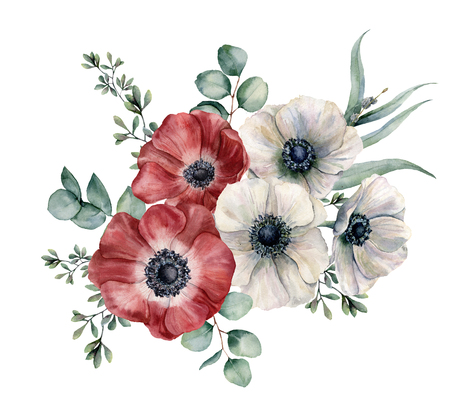Watercolor red and white anemone bouquet. Hand painted colorul flowers, eucalyptus leaves isolated on white background. Illustration for design, fabric, print or background.