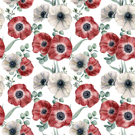 Watercolor red and white anemone seamless pattern. Hand painted colorul flowers, eucalyptus leaves isolated on white background. Illustration for design, fabric, print or background. Stock Photo