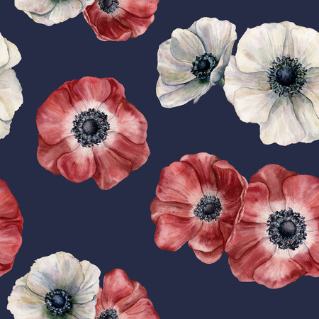 Watercolor anemone pattern on dark blue background. Hand painted isolated red and white flowers. Illustration for design, fabric, print or background.