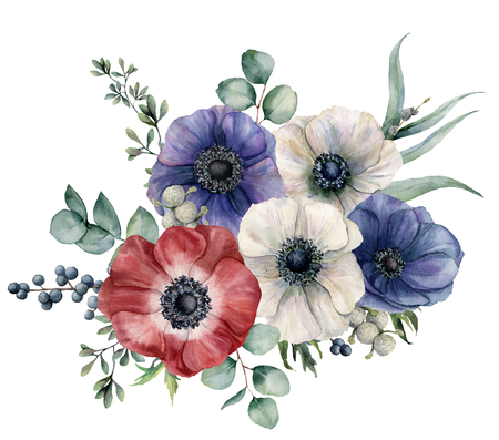 Watercolor blue, red and white anemone bouquet. Hand painted colorul flowers, brunia and privet berry, eucalyptus leaves isolated on white background. Illustration for design, print or background.