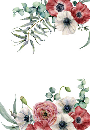 Watercolor anemone floral card. Hand painted red and white flowers, eucalyptus leaves isolated on white background. Illustration for design, fabric, print or background.