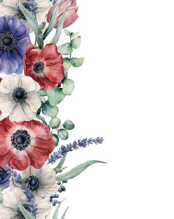 Watercolor floral card with red, blue white anemone. Hand painted bouquet with red, white and blue anemone, eucalyptus leaves and branch, lavender, tulip, berries isolated on white background.
