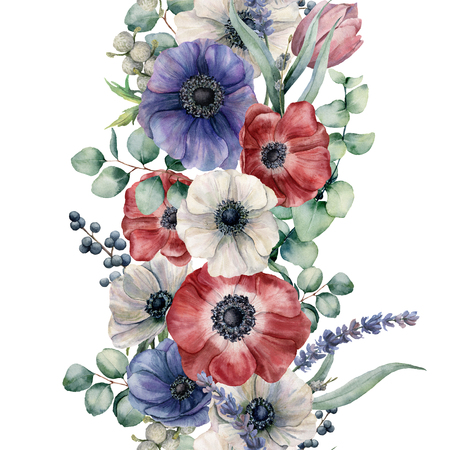 Watercolor seamless floral border. Hand painted bouquet with red, white and blue anemone. eucalyptus leaves and branch, lavender, tulip, berries isolated on white background. Botanical print
