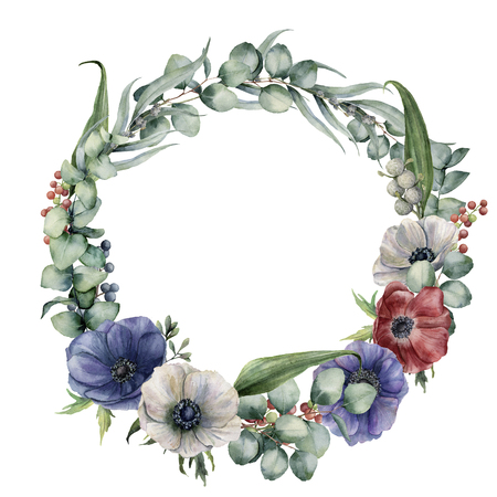 Watercolor wreath with eucalyptus branch and flowers. Hand painted eucalyptus leaves, red, white and blue anemones, berries isolated on white background. Floral botanical illustration for design.
