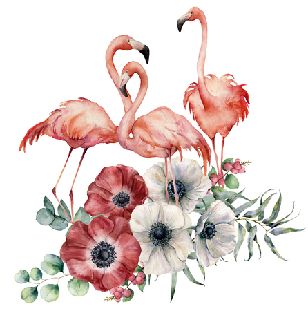 Watercolor flamingo with anemone bouquet. Hand painted exotic birds with flowers, eucalyptus leaves and branch isolated on white background. Wildlife illustration for design, print or background.