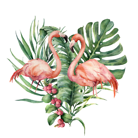 Watercolor heart with palm leaves and flamingo. Hand painted exotic bird, coconut and banana branch, monstera, berries isolated on white background. Love. Print for design or card.