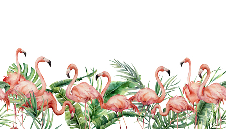 Watercolor tropical seamless border with flamingo and exotic leaves. Hand painted floral illustration with pink birds, banana, coconut and monstera branch isolated on white background for design.