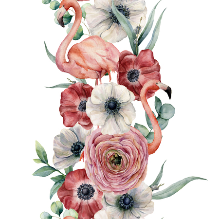 Watercolor seamless floral border with pink flamingo. Hand painted bouquet with red and white anemone. eucalyptus leaves and branch isolated on white background. Botanical print for design.