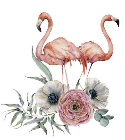 Watercolor couple flamingo with ranunculus and anemone bouquet. Hand painted exotic birds with eucalyptus leaves isolated on white background. Wildlife illustration for design, print or background.