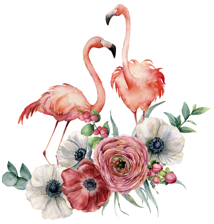 Watercolor flamingo with ranunculus bouquet. Hand painted exotic birds with anemone, eucalyptus leaves and branch isolated on white background. Wildlife illustration for design, print or background.