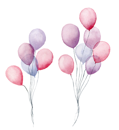 Watercolor air balloons. Hand painted pack of party pink, blue, purple balloons isolated on white background. Greeting decor