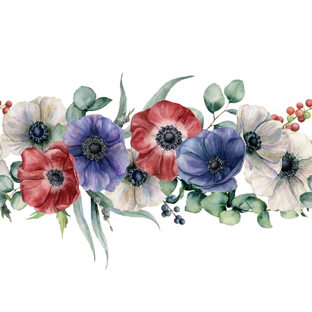 Watercolor seamless horizontal floral border. Hand painted bouquet with red, white and blue anemone, eucalyptus leaves and branch, berries isolated on white background. Botanical illustration Banque d'images - 105292525