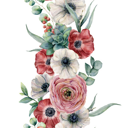 Watercolor seamless vertical floral border. Hand painted bouquet with red, white anemone, ranunculus, succulent, eucalyptus leaves and branch, berries isolated on white background. Botanical print Standard-Bild - 105292533