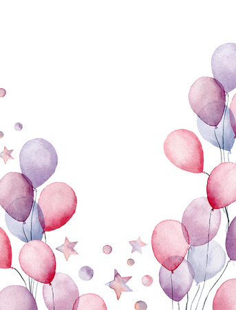 Watercolor birthday card. Hand painted greeting card with air balloons, stars and confetti isolated on white background. Invitation design for print or background.