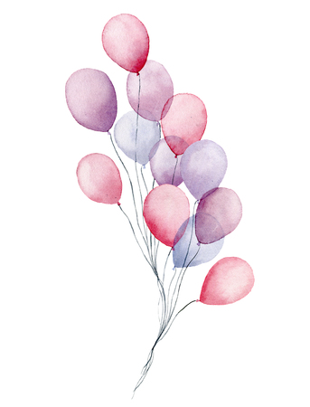 Watercolor air balloons pack. Hand painted party pink, blue, purple balloons isolated on white background. Greeting decor for print, design or background Archivio Fotografico