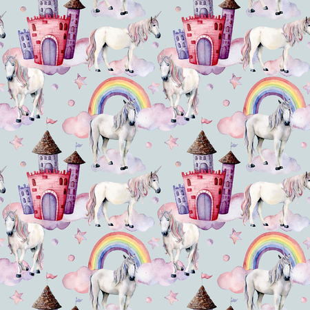 Watercolor pattern with unicorns and fairy tale decor. Hand painted magic horses, castle, rainbow, clouds, stars isolated on white background. Cute wallpaper for design, print or background.