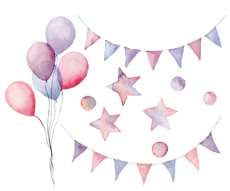 Watercolor birthday set with pastel elements. Hand painted air balloons, flag garlands, stars and confetti isolated on white background. Festive decor for design, print or background Archivio Fotografico - 104996531