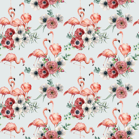 Watercolor pink flamingo with ranunculus and anemone seamless pattern. Hand painted exotic birds with eucalyptus leaves isolated on blue background. Wildlife illustration for design or background.