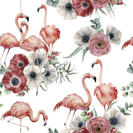 Watercolor flamingo with ranunculus and anemone seamless pattern. Hand painted exotic birds with eucalyptus leaves isolated on white background. Wildlife illustration for design or background. Stock Photo