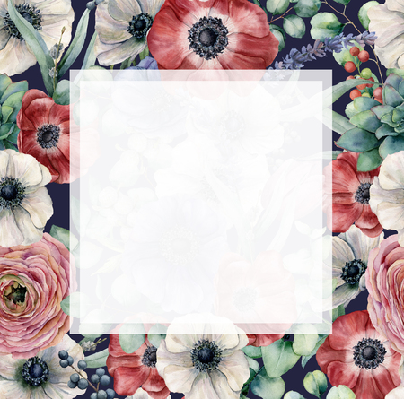 Watercolor floral frame with exotic flowers. Hand painted anemones, ranunculus, berries, lavender isolated on dark blue background for design, fabric or print.