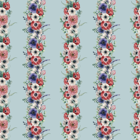 Watercolor vertical floral seamless pattern. Hand painted bouquet with red, white, blue anemone, ranunculus, succulent, eucalyptus leaves, berries, tulip, lavender isolated on blue background.