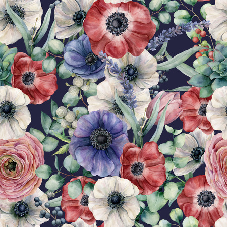 Watercolor seamless pattern with eucalyptus leaves and different flowers. Hand painted anemones, ranunculus, berries isolated on dark blue background. Floral botanical illustration for design.