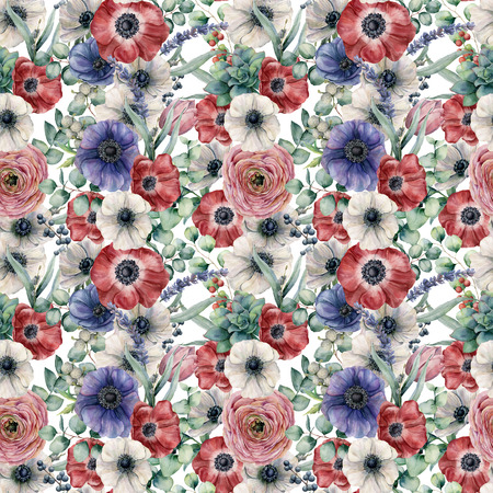 Watercolor seamless pattern with eucalyptus leaves and flowers. Hand painted red, white and blue anemones, ranunculus, berries isolated on white background. Floral botanical illustration for design. Standard-Bild - 105292547