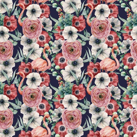 Watercolor seamless pattern with flowers and pink flamingo. Hand painted red and white anemone, ranunculus, eucalyptus leaves isolated on dark blue background. Botanical print for design or print. Stock fotó
