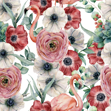 Watercolor seamless pattern with flowers and flamingo. Hand painted red and white anemone, ranunculus, eucalyptus leaves isolated on white background. Botanical print for design or print.