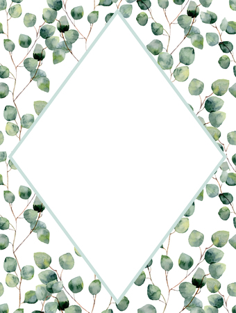 Watercolor tropical vertical frame with silver dollar eucalyptus leaves. Hand painted floral illustration with branch isolated on white background for design, fabric, card or print.