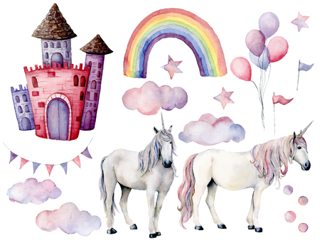 Watercolor set with unicorns and fairy tale decor. Hand painted magic horses, castle, rainbow, clouds, stars and air ballons isolated on white background. Cute wallpaper for design or background.