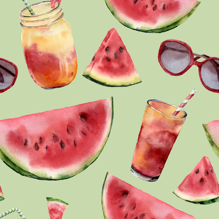 Watercolor watermelon, sunglass and cocktail big seamless pattern. Hand painted watermelon slice with fruit cocktail isolated on pastel green background. Food illustration for design, print or fabric.