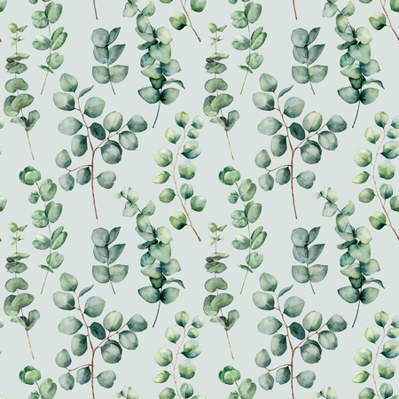 Watercolor seamless pattern with eucalyptus round leaves. Hand painted baby, silver dollar eucalyptus branch isolated on blue background. Floral illustration for design, print, fabric or background Standard-Bild